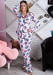 Костюм домашний теплый, фланелевая пижама женская кофта с брюками