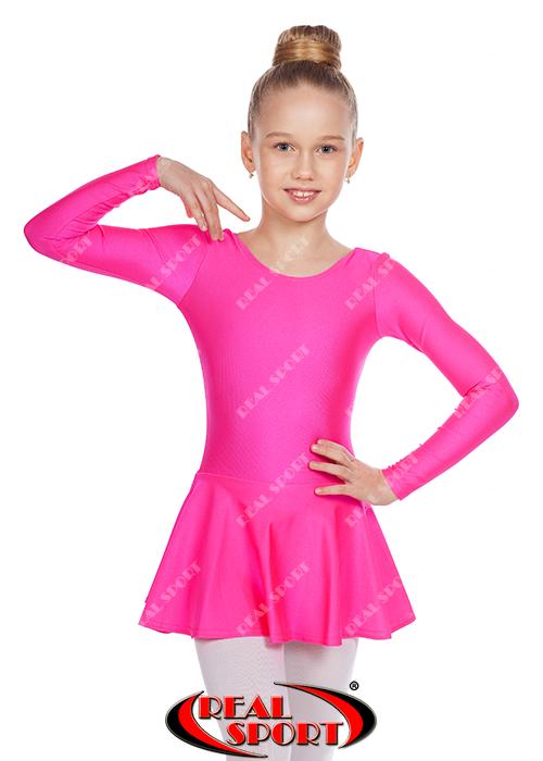 Детский купальник с юбкой для танцев, малиновый GM030119 (бифлекс, р-р 1-M, рост 98-134см)