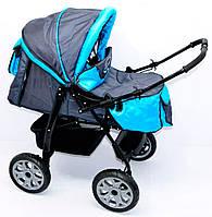 Детская коляска-трансформер Viki 86- С 13 Темно-серый с голубым Гарантия качества Быстрая доставка