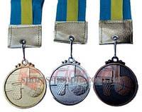 Медаль спортивная/для баскетбола: 1, 2, 3 место, Ø 5 см, с украинской ленточкой