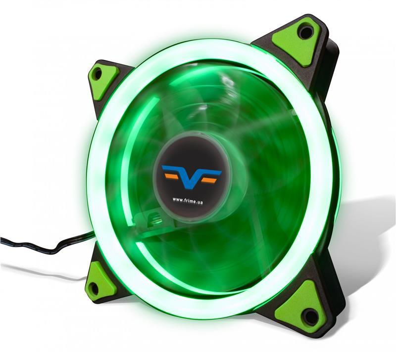Вентилятор Frime Iris LED Fan Double Ring Green (FLF-HB120GDR)