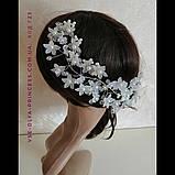 Гілочка віночок в зачіску тіара гребінь обідок під срібло з перлами, фото 5