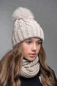 Теплая шапка с бубоном Flirt Бэкки One Size лен