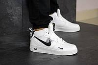 Зимние мужские кроссовки в стиле Nike Air Force. артикул 8470 белые с черным