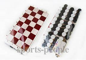 Набор: картонная доска для игр 3 шт. + шашки 3 уп., 32 x 32 см.