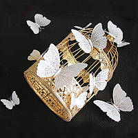 3D бабочки для декора (бело-серебристые) -12 шт. Наклейки-бабочки на магните, на стену.