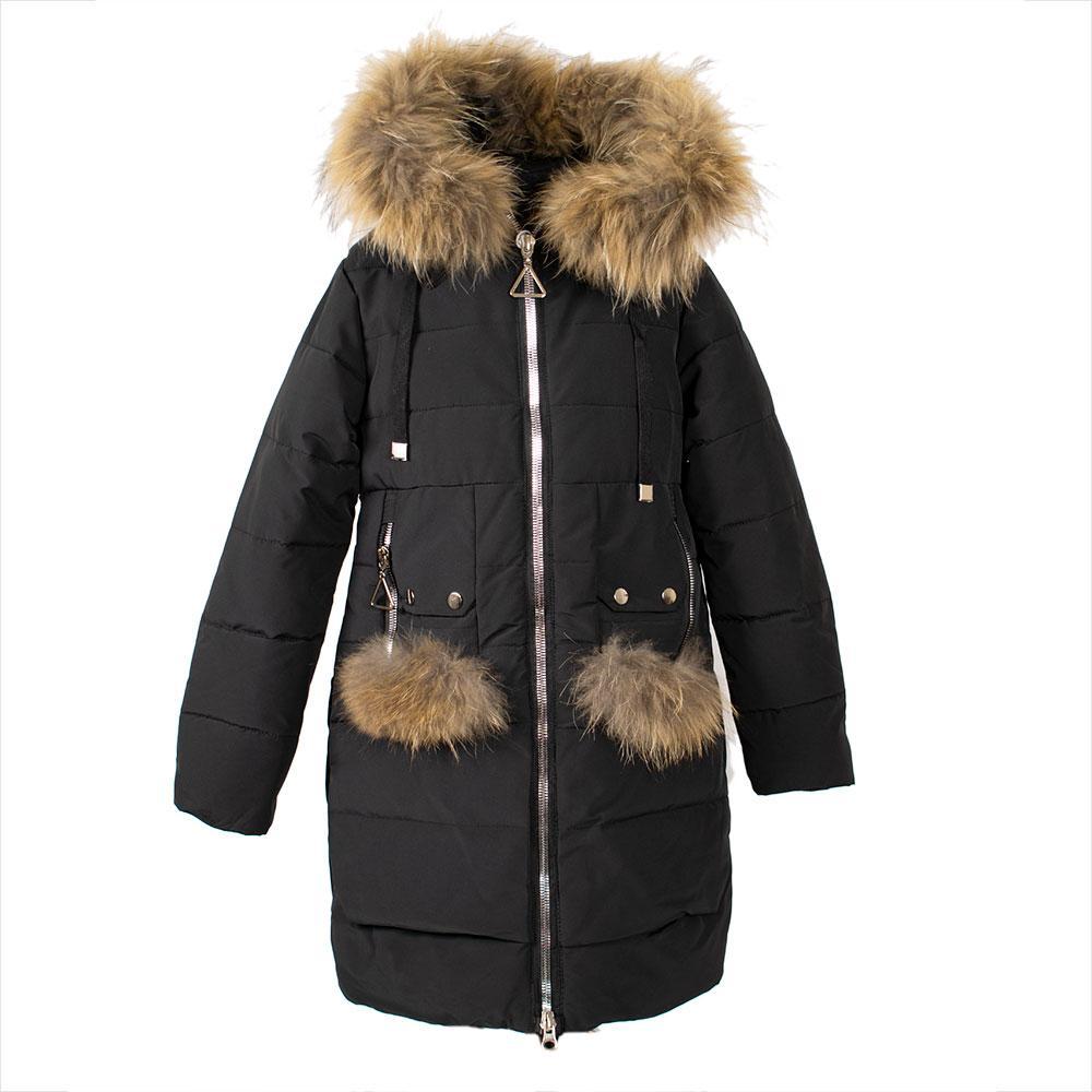 """Пальто зимнее для девочек """"Yinuo"""" 140  черный LH-4"""