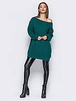 Теплое платье вязаное зеленое короткое спадающее с плеча  свободного кроя 44-48