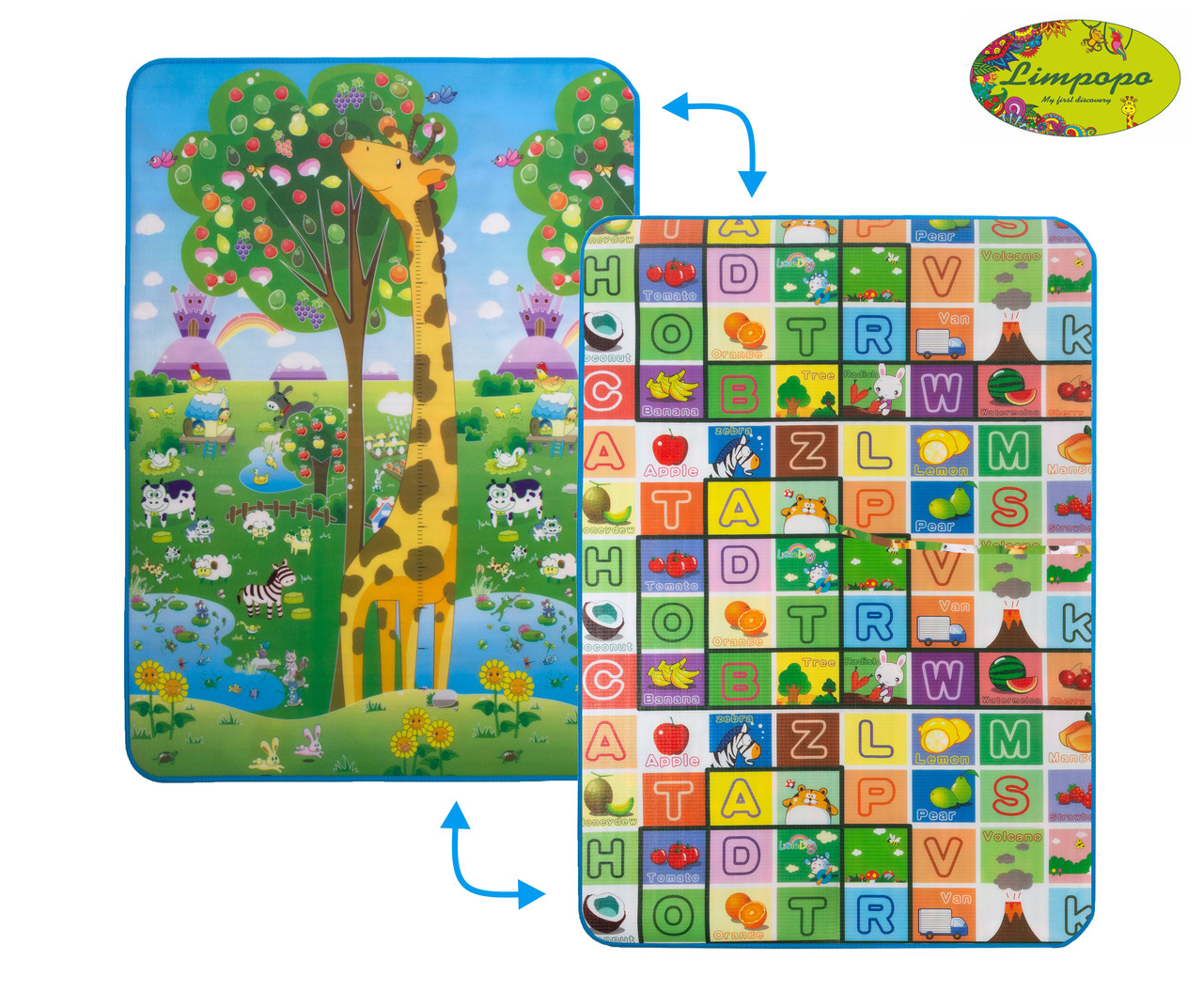 """Детский двусторонний коврик Limpopo """"Большая жирафа и Красочная азбука"""", 120х180 см, арт LP012-120"""