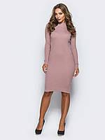 Теплое платье -гольф сиреневое  до колена 42-44 46-48 50-52