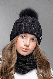 Теплая шапка с бубоном Flirt Бэкки One Size черная