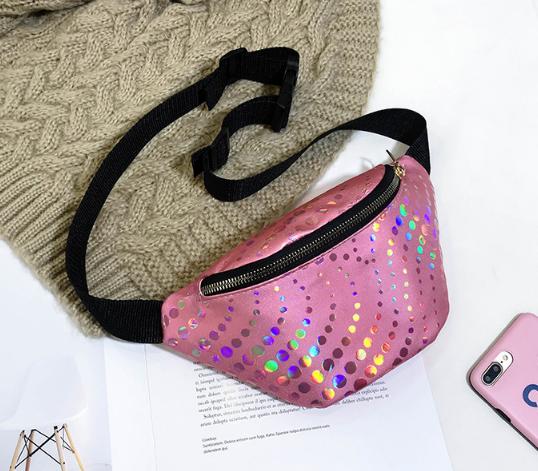 Поясная сумка розовая с декором