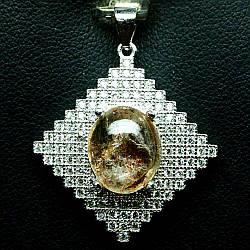 Серебряная подвеска с натуральным Солнечным Камнем и Cz