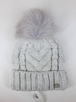 Теплая шапка с бубоном Flirt Бэкки One Size дым, фото 2
