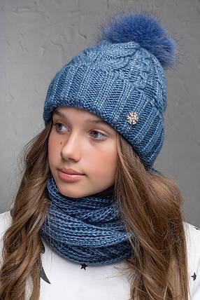 Теплая шапка с бубоном Flirt Бэкки One Size джинс, фото 2
