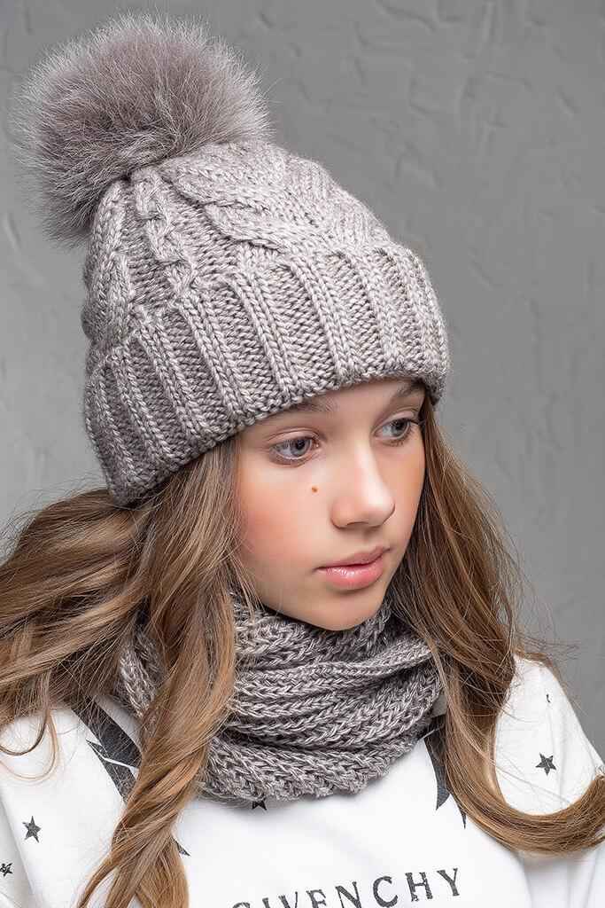 Теплая шапка с бубоном Flirt Бэкки One Size бежевая