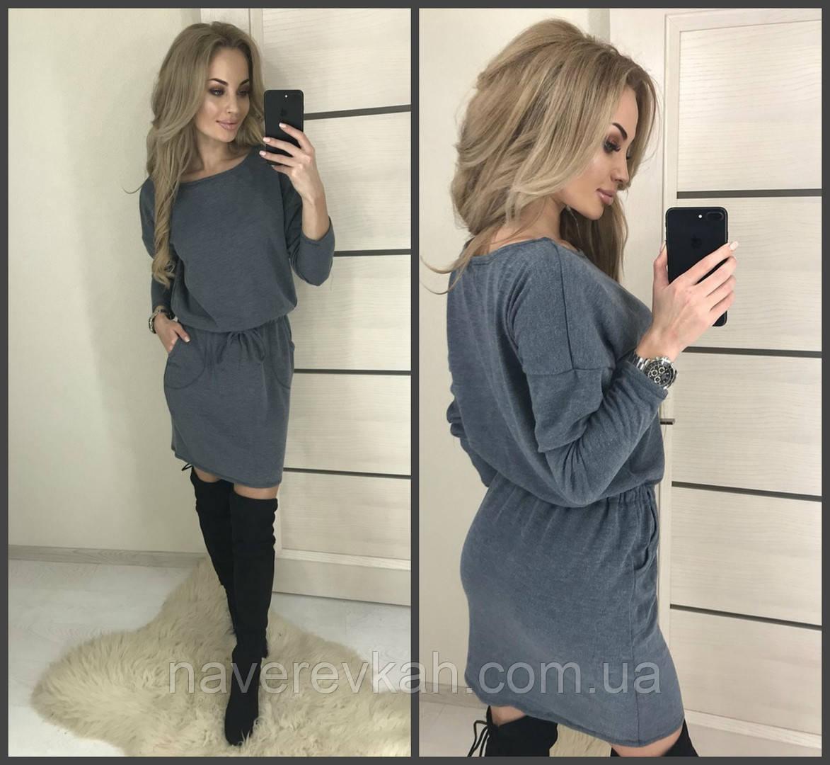 Женское свободное осенне платье на резинке ангора серый и черный 42-46