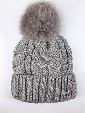 Теплая шапка с бубоном Flirt Бэкки One Size бежевая, фото 2