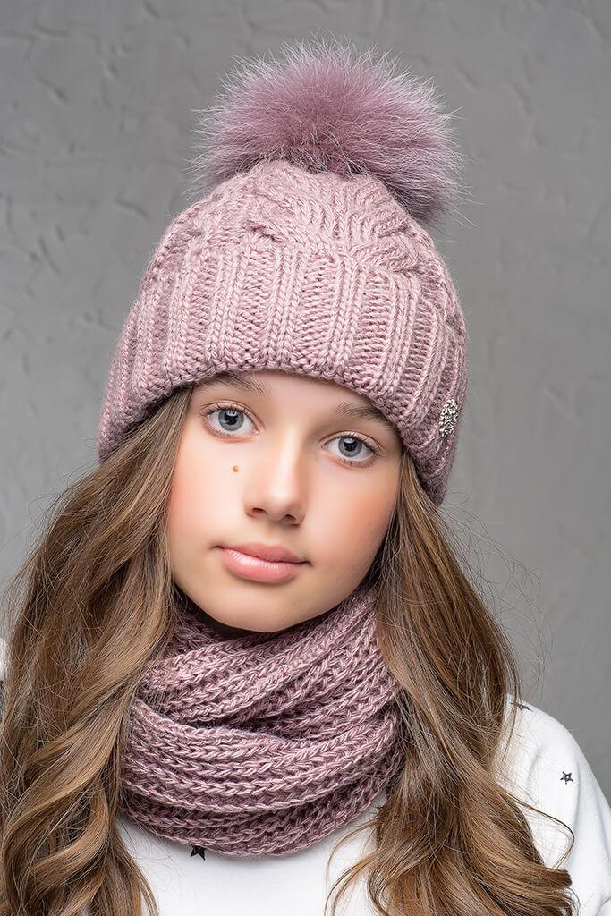 Теплая шапка с бубоном Flirt Бэкки One Size лиловая