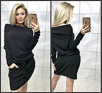 Женское свободное осенне платье на резинке с открытыми плечами ангора серый черный 42-44, фото 1