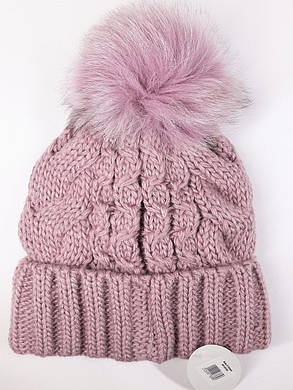 Теплая шапка с бубоном Flirt Бэкки One Size лиловая, фото 2