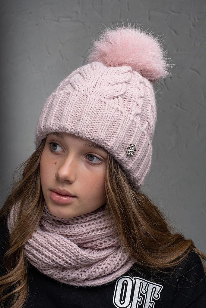 Теплая шапка с бубоном Flirt Бэкки One Size пудра