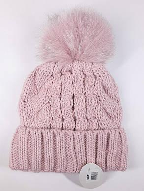 Теплая шапка с бубоном Flirt Бэкки One Size пудра, фото 2