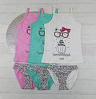 Комплекты детского нижнего белья, трусики + майка для девочек 5-6 лет