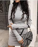 Женское осеннее приталенное платье под горло ангора вязка красный, чёрный, серый, беж 42-44,46-48, 50-52,54-56