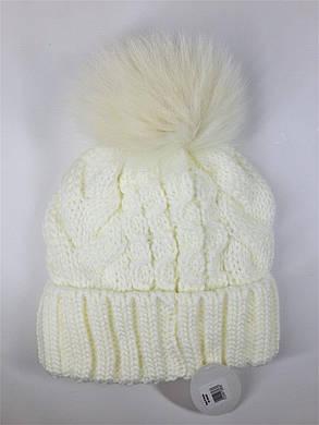 Теплая шапка с бубоном Flirt Бэкки One Size молочная, фото 2