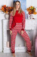 Теплая пижама женская зимняя с начесом хлопковая кофта с брюками (байковая)
