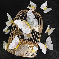 3D бабочки 12 шт.(бело-золотистые) декоративные наклейки на стену. Наклейки магнитные, интерьерные для декора.