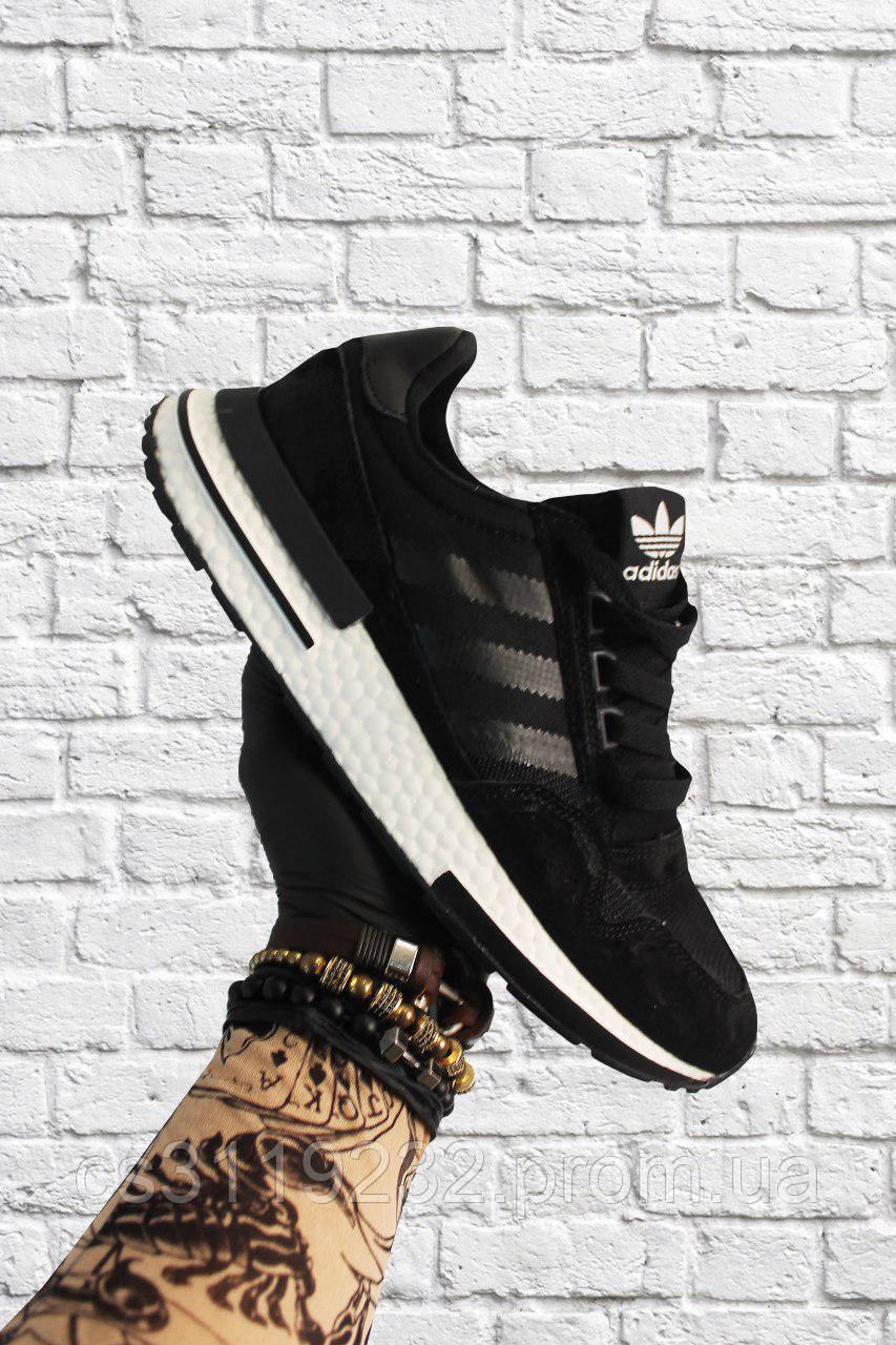 Мужские кроссовки  Adidas ZX 500 RM Black White (черные)