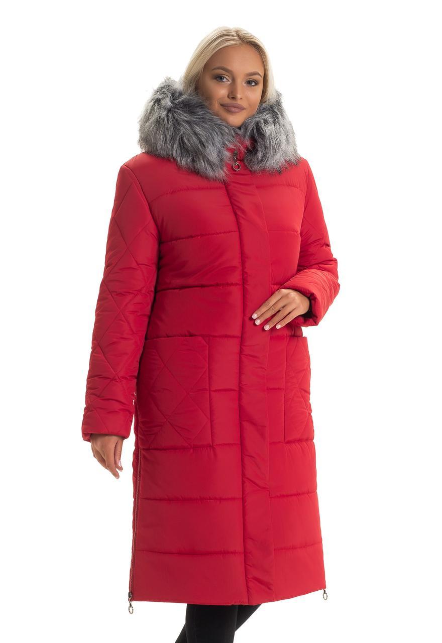 Красный длинный пуховик с мехом
