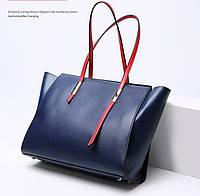 Женская сумка из натуральной кожи синего цвета Блюлайн, фото 1