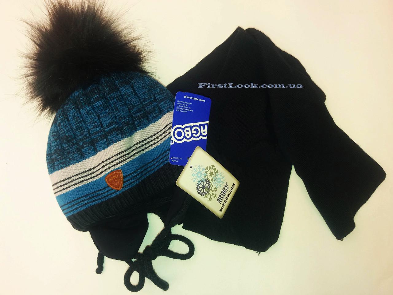 Детский зимний комплект шапка и шарф на мальчика .Польша(3-5 лет)