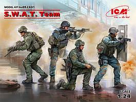 S.W.A.T. Team Полицейский спецназ США. Набор пластиковых фигур для сборки. 1/24 ICM DS2401
