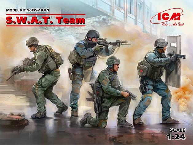 S.W.A.T. Team Полицейский спецназ США. Набор пластиковых фигур для сборки. 1/24 ICM DS2401, фото 2