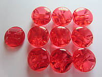 Камень-пуговица акриловая пришивная 16 мм красная, 1 шт.