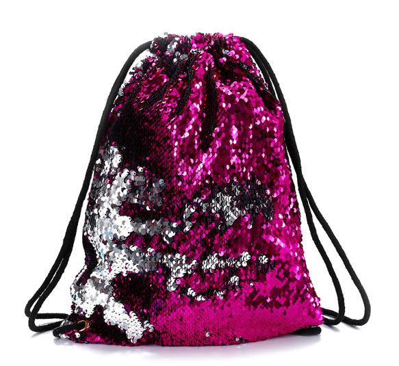 Рюкзак-мешок  для сменки в паетках (малиновый-серебро)