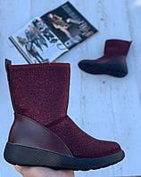 Ботинки женские зимние с супинатором 6 пар в ящике бордового цвета 36-41, фото 1