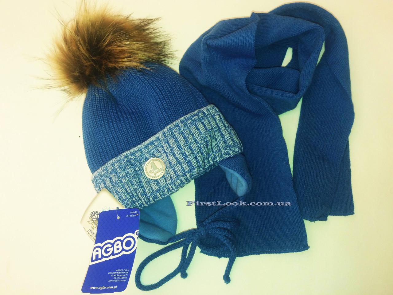 Детский зимний комплект шапка и шарф на мальчика .Польша(0,6-1 год)
