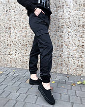Брюки карго женские с карманами  (черные)