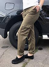 Брюки карго женские с карманами  (цвет хаки)
