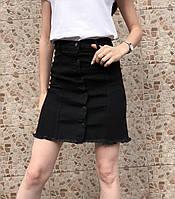 Юбка джинсовая черная на пуговицах