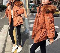 Куртка пуховик женская (терракотовый цвет)
