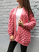 Кардиган женский объемная вязка (розовый)