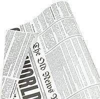 "Бумага упаковочная PCD-3 подарочная ""Old World News на белом"", двухсторонний Крафт 0,7х8м 75г/м2"