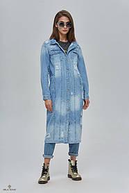 Модный женский тренч из джинса   размеры 42-52