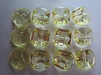 Камень-пуговица акриловая пришивная 16 мм жёлтая, 1 шт.
